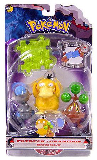 Pokemon Diamond & Pearl Series 8 Psyduck, Bonsly & Cranidos Figure 3-Pack