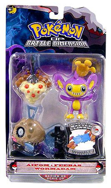 Pokemon Diamond & Pearl Series 9 Aipom, Feebas & Wormadam [Sandy Cloak] Figure 3-Pack