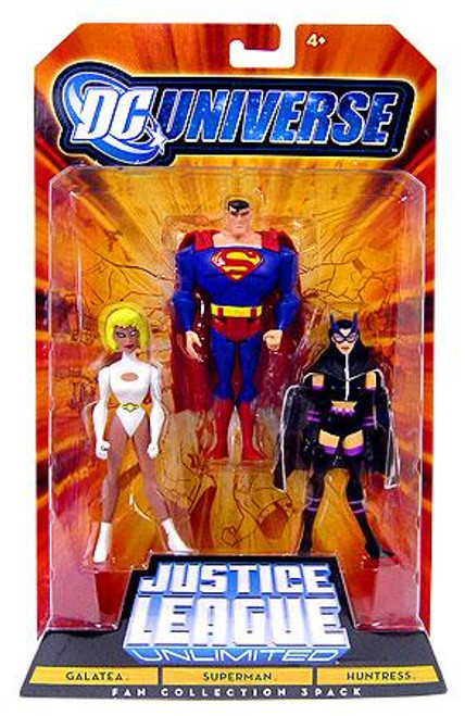 DC Universe Justice League Unlimited Fan Collection Galatea, Superman & Huntress Action Figures