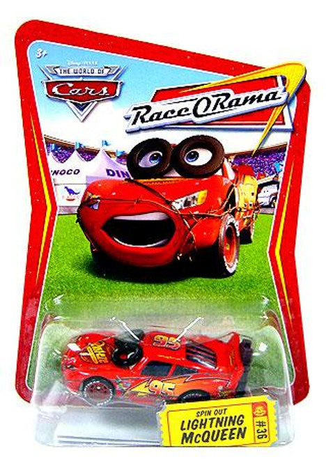 Disney Cars The World of Cars Race-O-Rama Spin Out Lightning McQueen Diecast Car #36