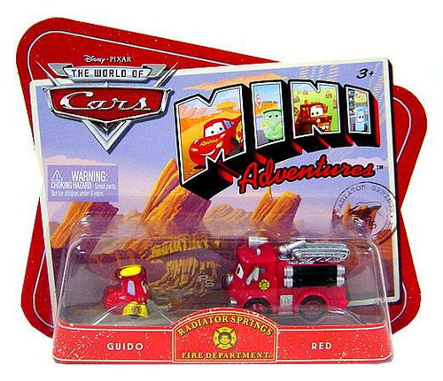 Disney Cars The World of Cars Mini Adventures Radiator Springs Fire Department Plastic Car 2-Pack [Guido & Red]