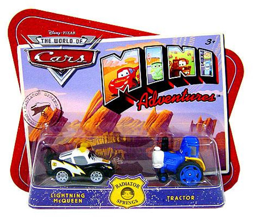 Disney Cars The World of Cars Mini Adventures Lightning McQueen & Tractor Plastic Car 2-Pack