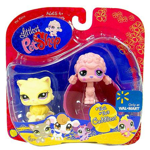 Littlest Pet Shop Pet Pairs Pink Poodle & Yellow Cat Exclusive Figure 2-Pack [762, 763]