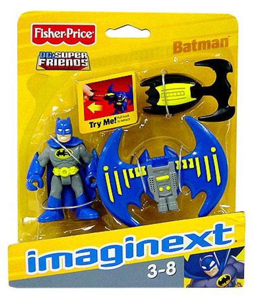 Fisher Price DC Super Friends Imaginext Batman [Blue & Gray Suit] with Batarang 3-Inch Mini Figure [Blue & Gray Suit]