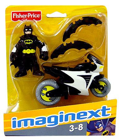 Fisher Price DC Super Friends Imaginext Batman & Batcycle 3-Inch Figure Set [Black Suit]
