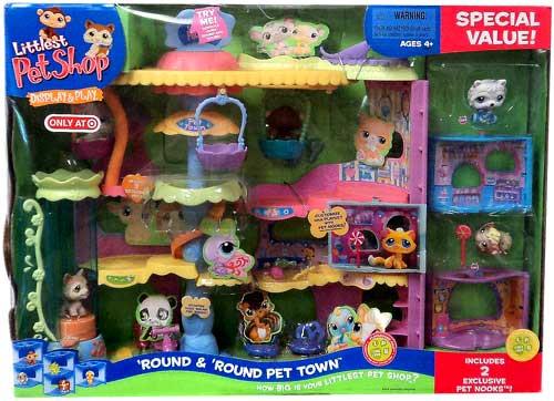 Littlest Pet Shop Round & Round Pet Town Exclusive Figure Set #383, 384