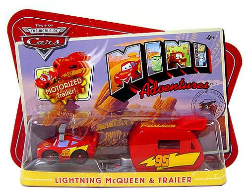 Disney Cars The World of Cars Mini Adventures Lightning McQueen & Motorized Trailer Plastic Car 2-Pack