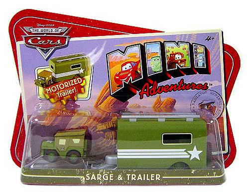 Disney Cars The World of Cars Mini Adventures Sarge & Motorized Trailer Plastic Car 2-Pack