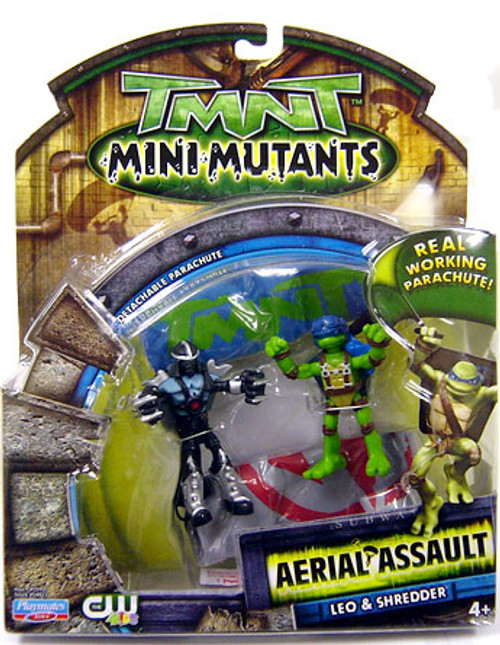 Teenage Mutant Ninja Turtles TMNT Mini Mutants Aerial Assault Leo & Shredder Action Figure Set