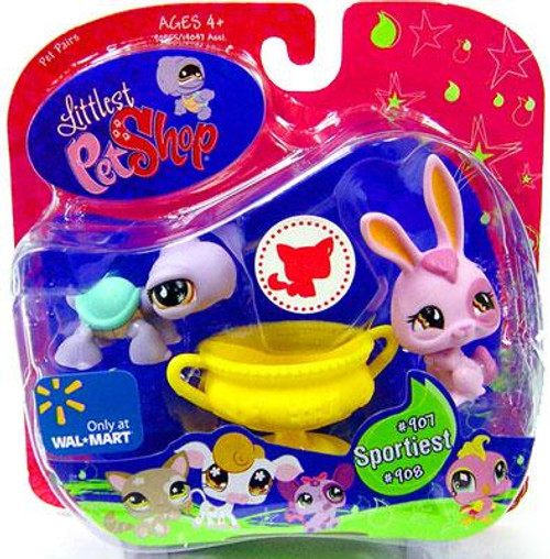 Littlest Pet Shop Pet Pairs Turtle & Purple Bunny Exclusive Figure 2-Pack #907, 908