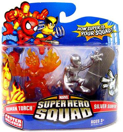 Marvel Super Hero Squad Series 13 Human Torch & Silver Surfer Action Figure 2-Pack
