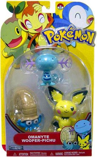 Pokemon Diamond & Pearl Series 13 Omanyte, Wooper & Pichu Figure 3-Pack