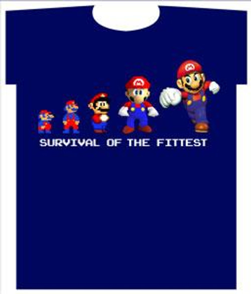 Super Mario Survival Of The Fittest 36-Inch T-Shirt [Youth XL]