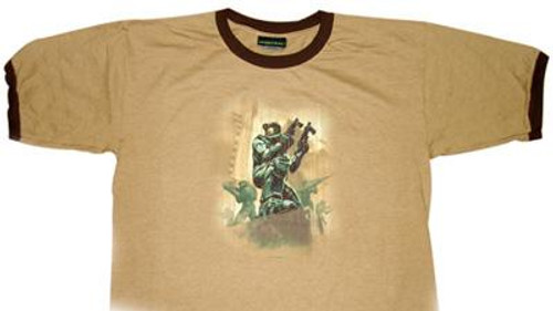 Halo 2 Battle Scene Logo T-Shirt [Tan, Adult XL]