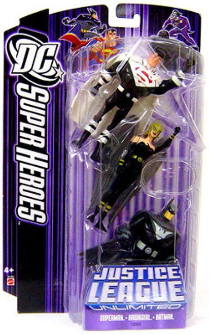 DC Justice League Unlimited Super Heroes Superman, Hawkgirl & Batman Action Figures [Purple Card]