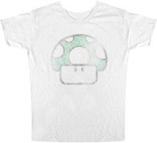 Super Mario Mushroom Distressed Logo T-Shirt [Adult Large]