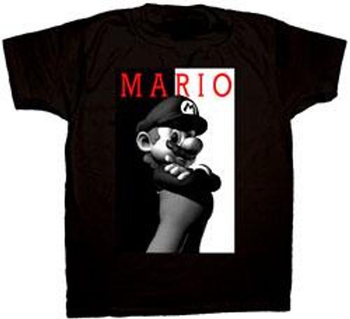 Super Mario Black & White Mario T-Shirt [Adult]