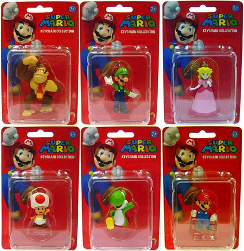 Super Mario Keychain Collection Series 1 Keychain Collection Set of 6 2-Inch Keychain
