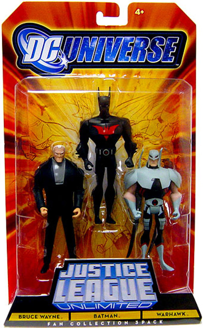 DC Universe Justice League Unlimited Fan Collection Bruce Wayne, Batman & Warhawk Action Figures