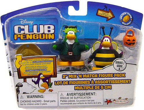 Club Penguin Mix 'N Match Series 4 Bumble Bee & Frankenpenguin Mini Figure Set