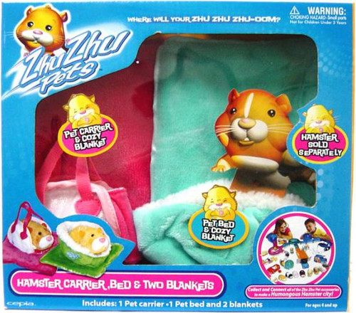 Zhu Zhu Pets Hamster Carrier, Bed & Two Blankets [Turquoise & Pink]
