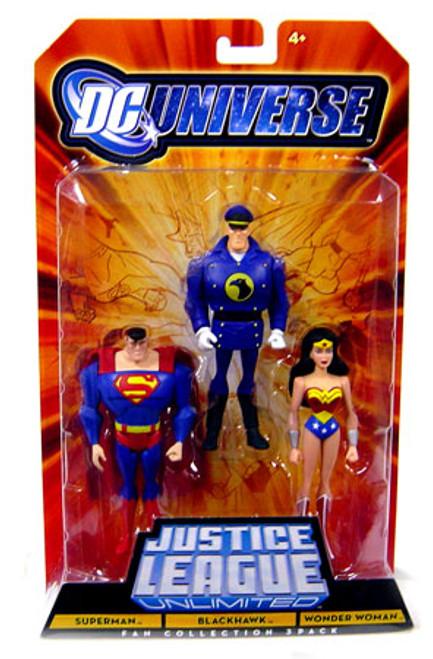 DC Universe Justice League Unlimited Superman, Blackhawk & Wonder Woman Action Figures