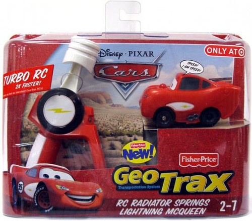 Fisher Price Disney Cars GeoTrax RC Radiator Springs Lightning McQueen Remote Control Car