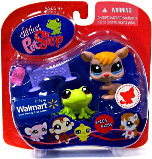 Littlest Pet Shop Kangaroo & Frog Exclusive Figure 2-Pack #1254, 1255