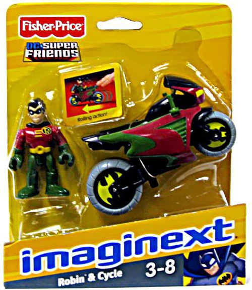 Fisher Price DC Super Friends Batman Imaginext Robin & Cycle 3-Inch Figure Set