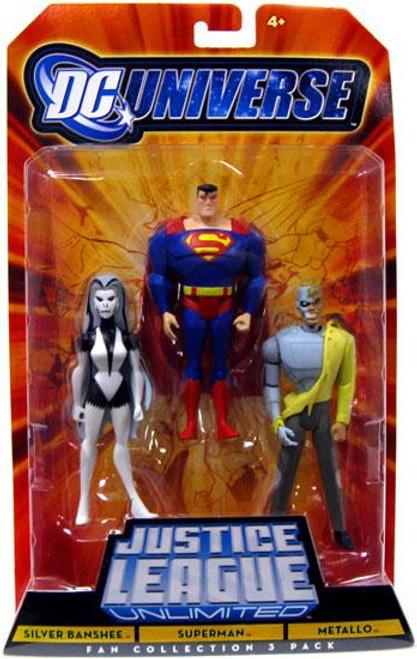 DC Universe Justice League Unlimited Silver Banshee, Superman & Metallo Action Figures