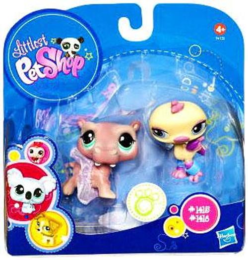 Littlest Pet Shop 2010 Assortment B Series 2 Hippo & Ostrich Figure 2-Pack #1415, 1416