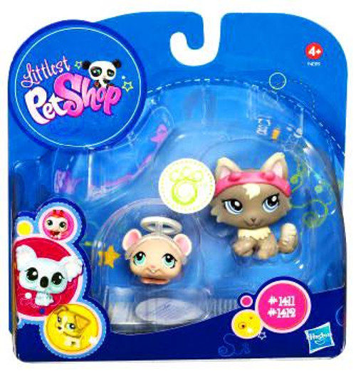 Littlest Pet Shop Mouse with Halo & Cat with Devil Ears Figure 2 Pack