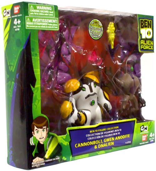 Alien Force Ben 10 Figure Collection Cannonbolt, Gwen Anodite & DNAlien Exclusive Action Figure 3-Pack