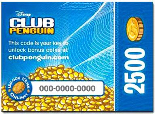 Club Penguin 2500 Gold Coin Redemption Code Card