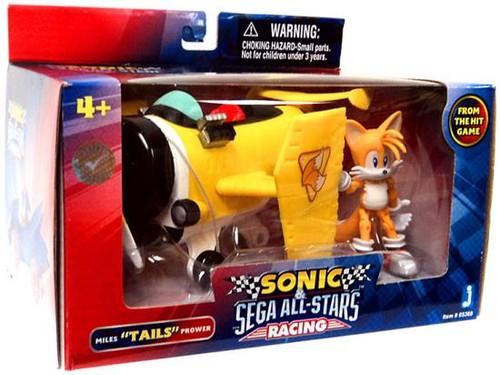 "Sonic The Hedgehog Sega All-Stars Racing Miles ""Tails"" Prower with Plane 3.5-Inch Figure Vehicle"
