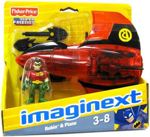Fisher Price DC Super Friends Batman Imaginext Robin & Plane Exclusive 3-Inch Figure Set