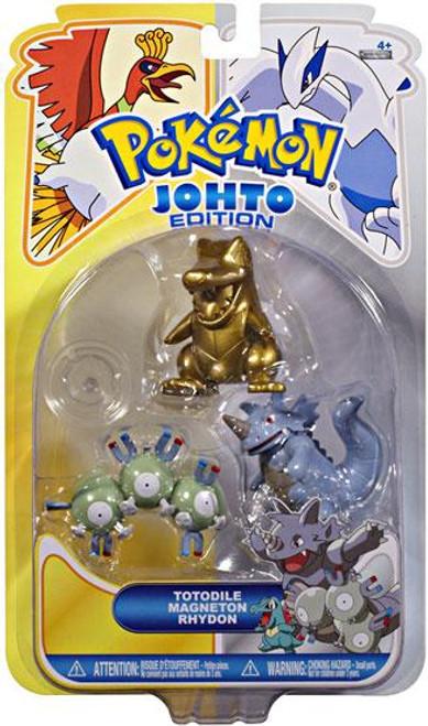 Pokemon Johto Edition Series 16 Gold Totodile, Magneton & Rhydon Figure 3-Pack