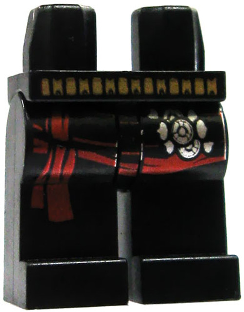 LEGO Minifigure Parts Black with Gold Belt & Red Sash Loose Legs [Loose]