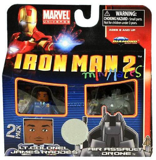 Marvel Universe Minimates Iron Man 2 Lt. Colonel James Rhodes & Air Assault Drone Exclusive 9.5-Inch Minifigure 2-Pack