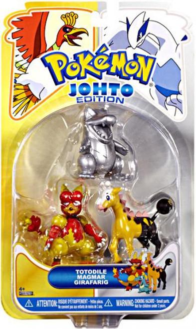 Pokemon Johto Edition Series 17 Silver Totodile, Magmar & Girafarig Figure 3-Pack
