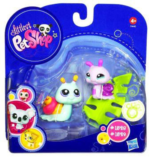 Littlest Pet Shop 2010 Assortment B Series 4 Pink & Blue Snails with Leaf Figure 2-Pack #1528, 1529