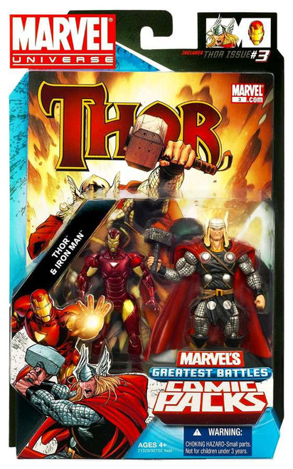 Marvel Universe Marvel's Greatest Battles Comic Packs Thor & Iron Man Action Figure 2-Pack