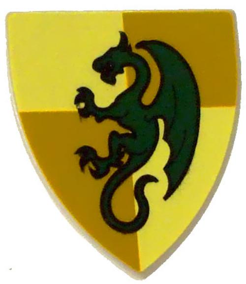 LEGO Castle Shields Gold & Green Dragon Shield [Loose]