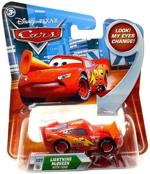 Disney Cars Lenticular Eyes Series 2 Lightning McQueen with Cone Diecast Car