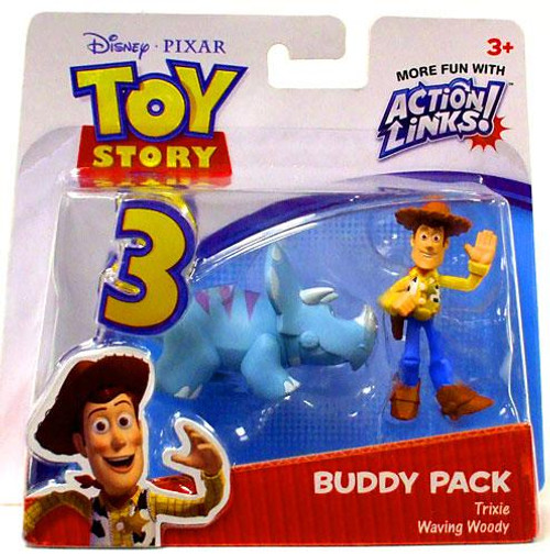 Toy Story 3 Action Links Buddy Pack Trixie & Waving Woody Mini Figure 2-Pack