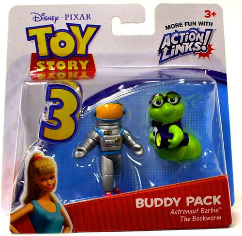 Toy Story 3 Action Links Buddy Pack Astronaut Barbie & The Bookworm Mini Figure 2-Pack