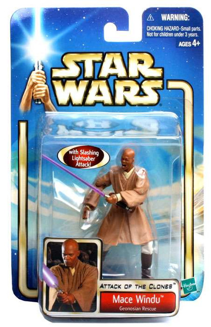 Star Wars Attack of the Clones Basic 2002 Collection 2 Mace Windu Action Figure #28 [Geonosian Rescue]