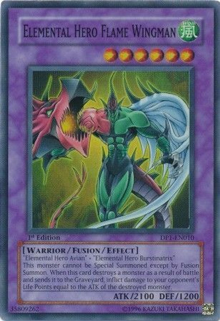 YuGiOh GX Duelist Pack Jaden Yuki Super Rare Elemental Hero Flame Wingman DP1-EN010