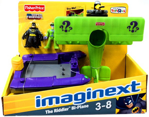 Fisher Price DC Super Friends Batman Imaginext The Riddler Bi-Plane Exclusive 3-Inch Figure Set