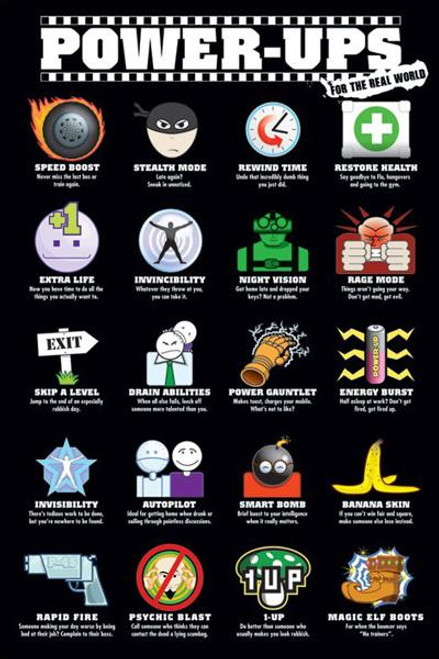 Pop Culture Power Ups For The Real World Poster